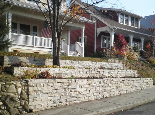 Ottawa Buff pre-split wall stone used to build a terraced retaining wall.
